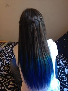 Royal Blue Dip Dyed Hair | dip dyed waterfall braid