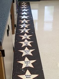 Line up on the walk of fame    Teach kiddos to line up on their star...could be used to take attendence,too! Ya this will happen with the little ones...