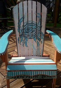 "Hand painted Adirondack Chair, ""Summertime Blues""  Boho Crab. For Sale at The Marketplace @Teaberry in Clermont NJ."