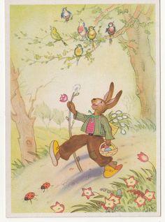 Ak Osterhase singt und wandert Charlotte Baron RAA um 1950 ! (A646 | eBay