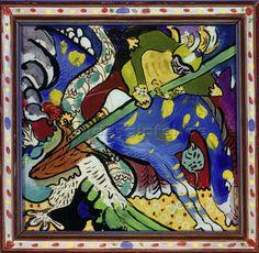 Wassily Kandinsky: Der Hl.Georg im Kampf mit dem Drachen I. 1911.
