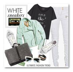 """ultimate trend: white sneakers"" by bonadea007 ❤ liked on Polyvore featuring Balmain, Violeta by Mango, Michele, Soya Fish, Vita Fede, Kelsi Dagger Brooklyn and Prada"