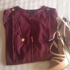 ✨MAKE OFFER SALE✨Maroon Long Sleeve Blouse 100% polyester. Gold button detail on shoulders & sleeves. Gold zipper front. Empire waist. Super comfy. Lane Bryant Tops Blouses