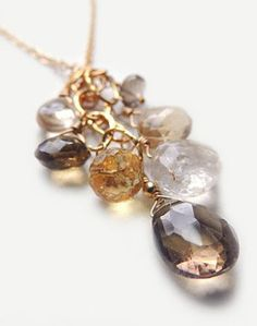 fiesta necklace with smoky topaz citrine & rutilated quartz by flow designs luxe handmade jewelry