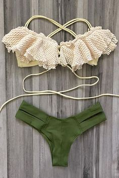 Spliced Spaghetti Strap Hollow Out Bikini Set