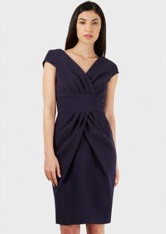 Black Pleat V Neck Cap Sleeve Dress