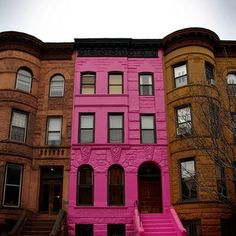 (old post) we live in a brownstone. the pink one is killer. Mille Fiori Favoriti: The Pink Brooklyn Brownstone is For Sale!