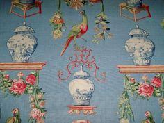 LEE-JOFA-KRAVET-FRENCH-TOILE-BIRDS-ROSES-LINEN-FABRIC-10-YARDS-BLUE-RED-MULTI
