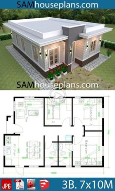 House Plan Discover House Plans with 3 Bedrooms with terrace roof - Sam House Plans House Plans with 3 Bedrooms with terrace roofThe House has:-Car Parking and garden-Living room-Dining Bedrooms 2 bathrooms Small Modern House Plans, Beautiful House Plans, Simple House Plans, Dream House Plans, House Layout Plans, House Layouts, House Roof Design, Modern Roof Design, House Construction Plan
