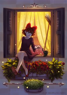 "Full illustration I did for Ghibli Zine ♥ It was a nice practice of lights and colors. This movie explains so well how ""art"" and ""magic"" works tha. Hayao Miyazaki, Kiki's Delivery Service Cosplay, Grave Of The Fireflies, The Cat Returns, Kiki Delivery, Art Manga, Ghibli Movies, Howls Moving Castle, My Neighbor Totoro"