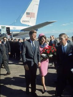 Pres. John F Kennedy and Wife Jackie at Love Field During Campaign Tour on Day of Assassination Photographic Print by Art Rickerby at AllPosters.com