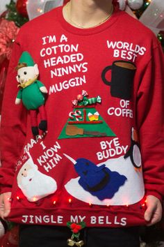 ugly christmas sweater concepts DIY (Elf) Ugly Christmas Sweaters three Well-known Black Fridays Whe Diy Ugly Christmas Sweater, Christmas Fun, Ugly Sweater Kit, Holiday Sweaters, Office Christmas, Christmas Projects, Holiday Crafts, Holiday Fun, Elf