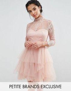 Chi Chi London Petite Allover Lace Mini Prom Dress With Ruffle Layered Skirt