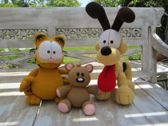 Free Crochet Garfield & Pooky Crochet Pattern - Craftdrawer Crafts.......AND ODIE!!! HOW COULD YOU FORGET ODIE???!!! ;) ♥A***These are wonderful!!!