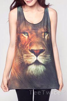 Lion Top Leo Aslan Narnia Animal Movie Shirts Women Tank Shirts Black Shirt Tunic Top Vest Sleeveless Women T-Shirt Size S M. $15.99, via Etsy.