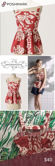 Anthropologie Girls From Savoy Marianne peplum top Anthropologie Marianne peplum tank by girls from savoy. Size 6 with smocked back. Dusty red color with an off white tropical print. Perfect for summer or wear with belt and cardigan on cooler nights Anthropologie Tops Tank Tops