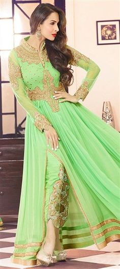 435366 Green  color family Bollywood Salwar Kameez, Party Wear Salwar Kameez in Georgette fabric with Machine Embroidery, Patch, Thread, Zari work .