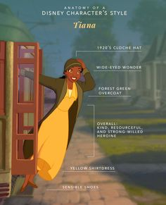Anatomy of a Disney Character's Style: Tiana | Princess and the Frog | [ https://style.disney.com/fashion/2016/07/07/anatomy-of-a-disney-characters-style-tiana/ ]