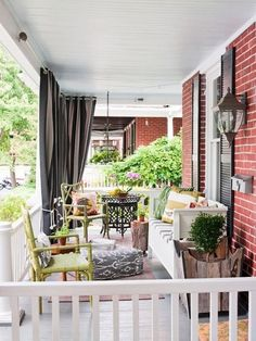 Who doesn't love a beautiful front porch? We are your portal for front porch designs, front porch ideas and more. Visit our galleries of porch pictures. Front Porch Curtains, Outdoor Curtains, Outdoor Rooms, Outdoor Living, Outdoor Furniture Sets, Outdoor Decor, Porch Privacy, Corner Curtains, Privacy Curtains