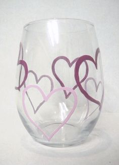 Hand Painted Stemless Wine Glasses  Valentines by TheScarletLine, $35.00