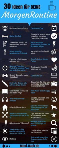 30 Ideen für deine Morgenroutine - Der perfekte Start in den Tag - Mind Hack Infografik