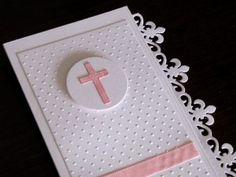 cruz rosada 2 Première Communion, First Holy Communion, Baptism Cards, Communion Invitations, Cricut Craft Room, Handmade Baby, Baby Cards, Scrapbook Cards, Thank You Cards