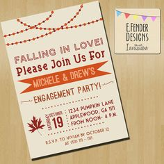 Modern Engagement Party Invitation, Falling in Love! Styled in orange, burgundy, and brown