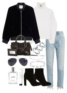 """""""Untitled #3639"""" by theeuropeancloset on Polyvore featuring M.i.h Jeans, Victoria Beckham, Frame, Balenciaga, French Connection, Gianvito Rossi, Cartier, Bobbi Brown Cosmetics, philosophy and Roberto Marroni"""