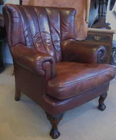 Chesterfield Style Tetrad Blake Semi-Aniline Leather Chair by John Lewis