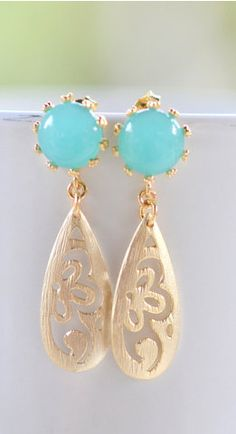 Turquoise Post in Gold and Gold Waterdrop Teardrop Dangle Earrings. Turquoise…