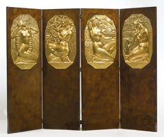 French Art Deco Screen  bronze signed A. Soleau lacquered wood and gilt bronze, circa 1925