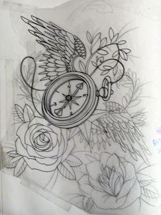 compass and rose tattoos | but have an open bird cage and beautiful pearls and lace??