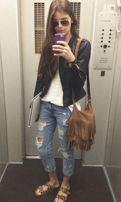 Look Camila Queiroz: Couro
