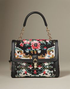 #Dolce & Gabbana Bag Cross stitched embroidered cotton tote  with leather trim