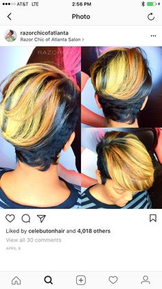 Looks like a sunset on a black river. Short Sassy Hair, Girl Short Hair, Short Hair Cuts, Pixie Cuts, Short Pixie, Curly Hair Styles, Natural Hair Styles, Jackson, Bob Hairstyles