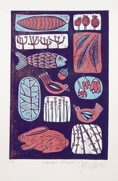 linocut print Harvest Fields in blue and red with by artcanbefun, $95.00