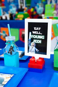 Dining Table Sign + Drink from a Lego Star Wars Birthday Party via Kara's Party Ideas | KarasPartyIdeas.com | The Place for All Things Party! (11)