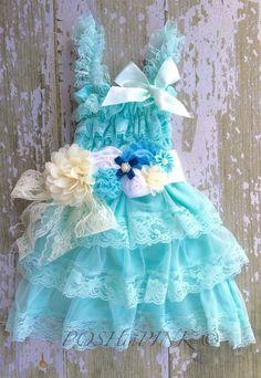 Turquoise aqua Rustic girl dress sash country by POSHinPINKKIDS