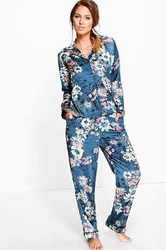 Rosie Satin Floral Print Button Through PJ Set Satin Pajamas 55976722a