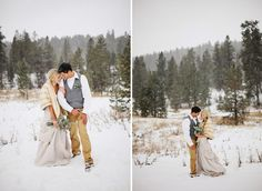 Beautiful winter wedding. I love how this couple braved the cold for these lovely photos in the snow.