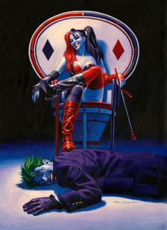Whiplash, Greg Hildebrandt, Joker and Harley Quinn, comic art, painting, DC comics