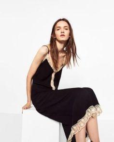 New Nwt Zara Women's Long Camisole Dress With Lace Size S Black White | eBay