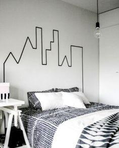 Tolle Idee für das Schlafzimmer. Ganz einfach selbermachen mit Washi Tape. Noch mehr tolle Masking Tape Ideen gibt es auf www.spaaz.de