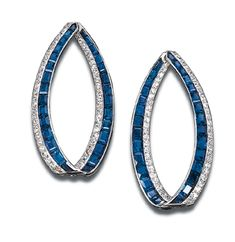 A PAIR OF DELICATE ART DECO SAPPHIRE AND DIAMOND EAR-PENDANTS, BY MARZO   Each designed as a calibré-cut sapphire and circular-cut diamond oblong hinged hoop, circa 1925, with French assay marks  Signed Marzo, Paris, no. C6328