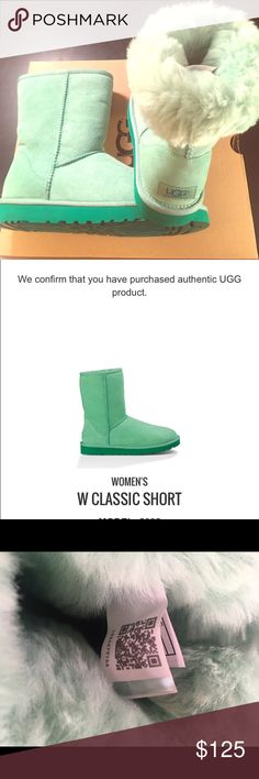 NWT Classic short Ugg Green Glass style Look adorable in these precious mint green colored Uggs! I received these for Christmas but already have a darker green. Comes with left foot authenticity label (see scanned photo attached). There is one tiny spot ( see photo) where my boyfriend touched the boot and there is a slight darker area. This could probably be cleaned out, but it is not noticeable unless it is held up close. UGG Shoes