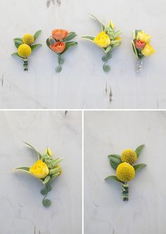 Bouquet Blueprint: yellow + green + orange blooms!