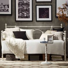 Looking for something fabulous to add to your home. Enhance your bedroom with this gorgeous Bellwood Victorian Iron Metal Daybed from Inspire Q. This daybed features nicely designed curves, a beautiful touch of decor. Furniture Deals, Bedroom Furniture, Bedroom Decor, Furniture Outlet, Online Furniture, Bedroom Stuff, Furniture Cleaning, Furniture Removal, Daybed Room