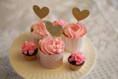Pink and Gold Birthday cupcakes