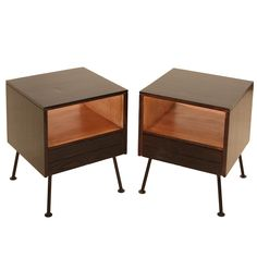 pair of oak & iron nightstands by Raymond Loewly for Mengel Co.