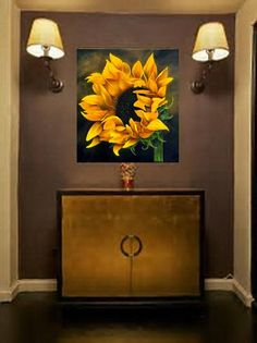 Painting On Canvas Acrylic Painting Flower Landscape Sunflower Painting Original Painting Painting Wall Art Canvas Art Original - Painting Acrylic Painting Flowers, Acrylic Paintings, Art Paintings, Original Paintings, Acrylic Art, Flower Canvas Paintings, Large Wall Art, Canvas Wall Art, Grand Art Mural